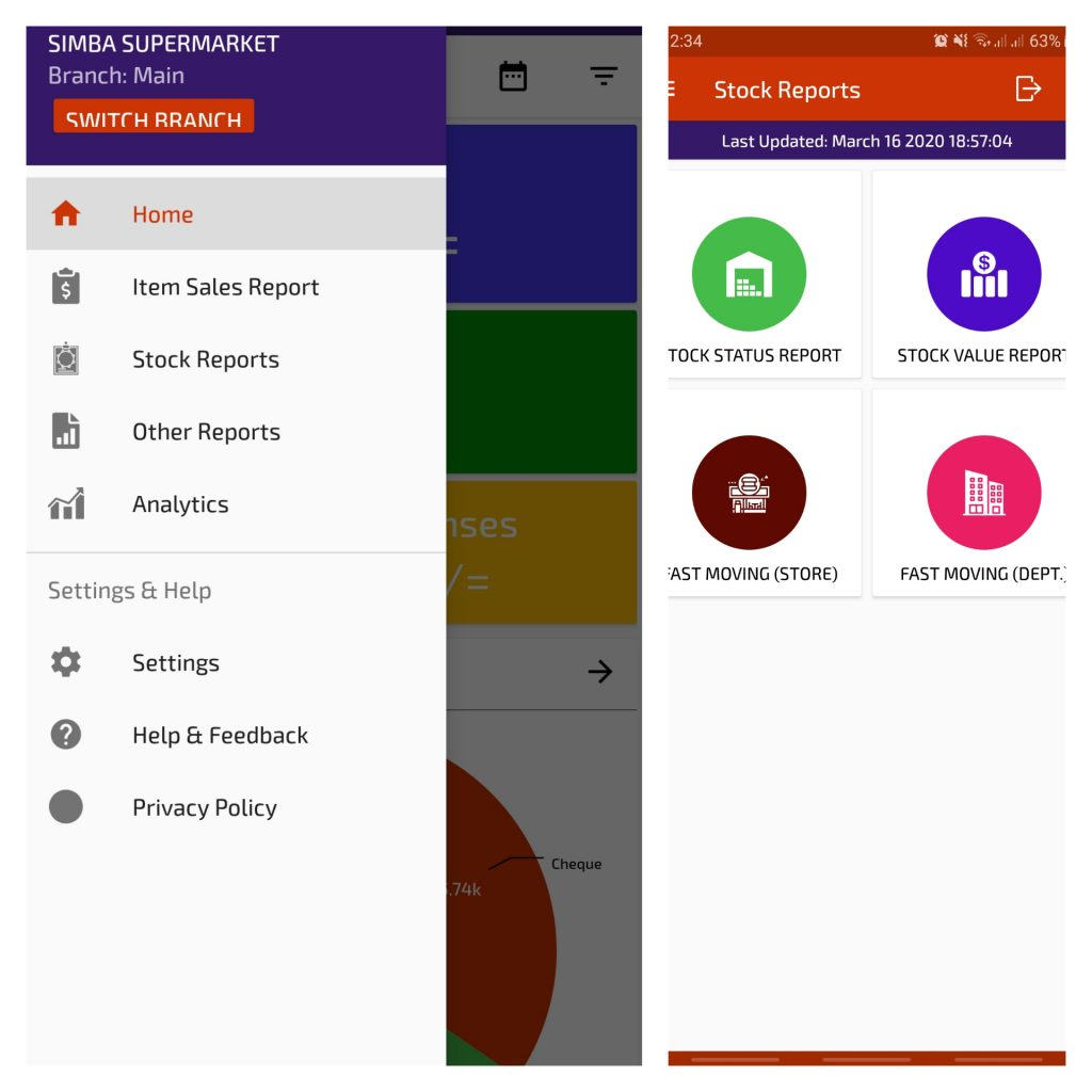 SimbaPOS Mobile Reports App More Reports